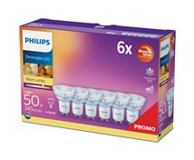 Philips 5W (50W) 345Lm 2200-2700K Dimbar 15000Tim 6-Pack *